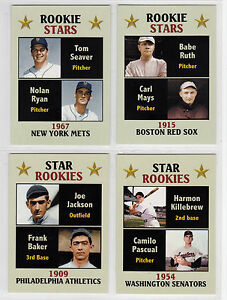 Lot-of-4-Rookie-Stars-Nolan-Ryan-Ruth-Shoeless-Joe-Fan-Club-serial-300