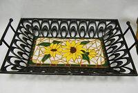 Yellow Sunflower Mosaic Art Handmade Ceramic Tile Art Deco Metal Basket 12 X 17