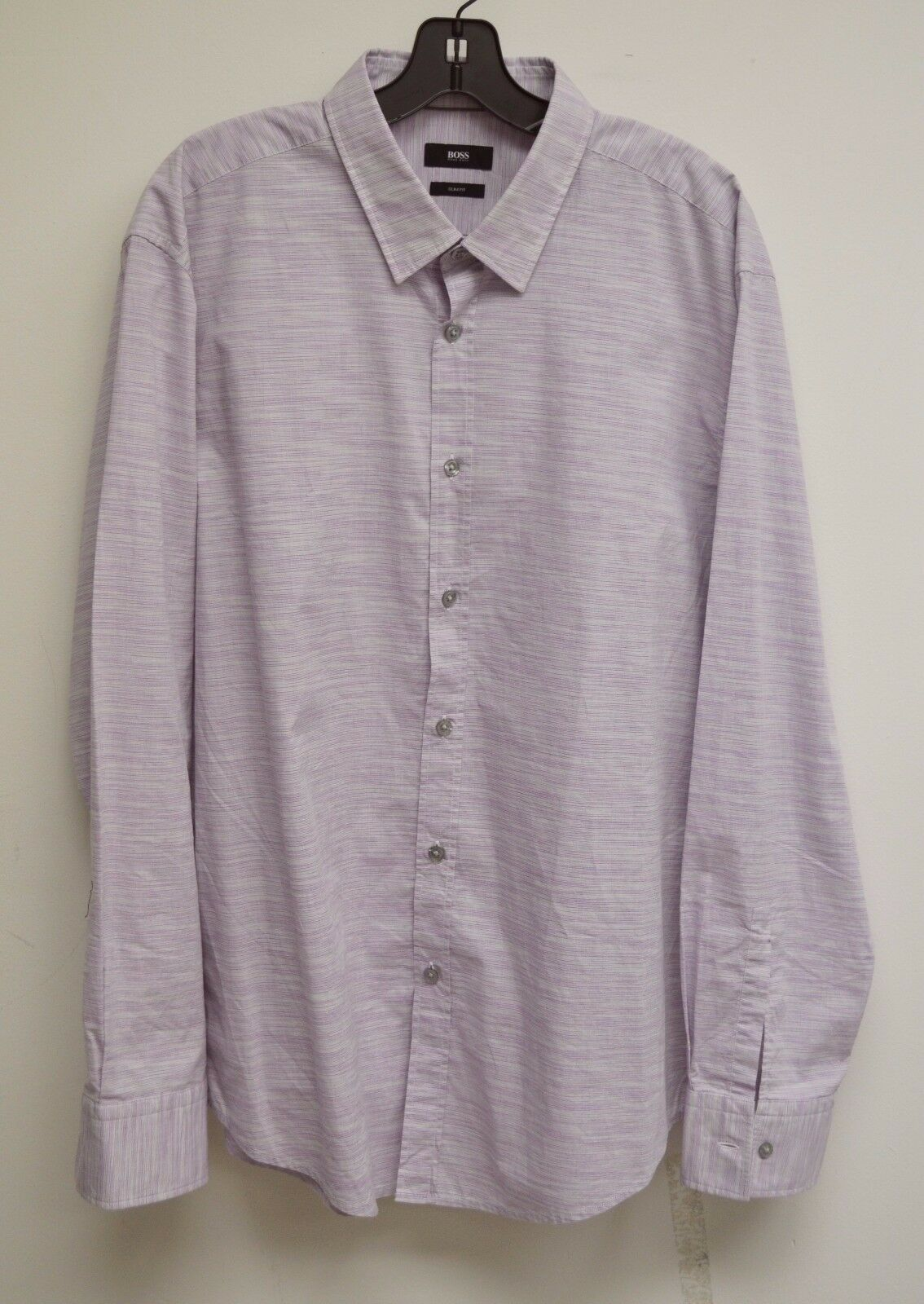 Hugo Boss Slim Fit Violet & grau Striped Cotton Button Front Dress Shirt 2XL