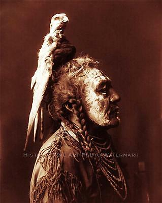 CROW INDIAN WARRIOR TWO WHISTLES VINTAGE PHOTO NATIVE AMERICAN OLD WEST  #21302