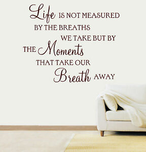 Image Is Loading Life Is Not Measured Quote Vinyl Wall Art