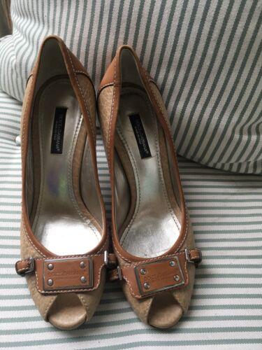 36 Uk 3 Shoes Pumps Leather amp; toe Peep Us Gabbana Size 6 Brown Dolce PzYR0vw