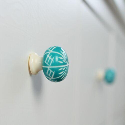 Resin Door Knob Cabinet Drawer Round Handle Set Turquoise x12