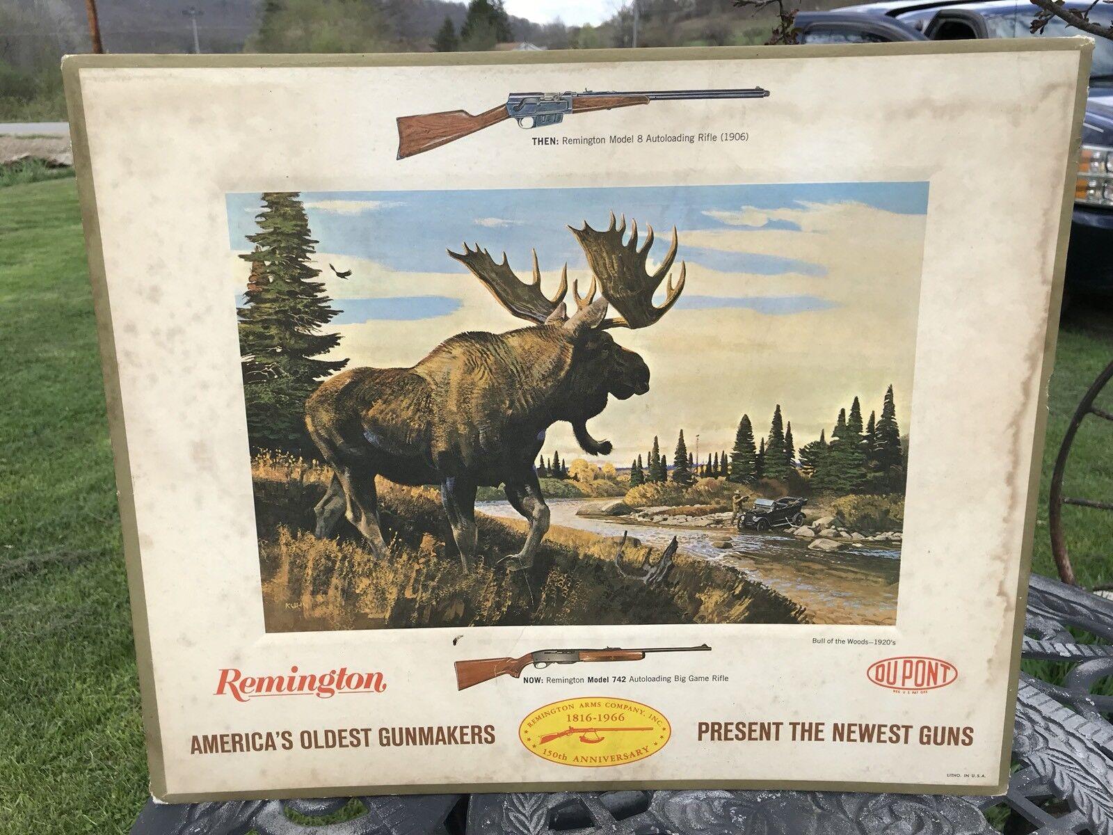 1966 Remington cartón Mostrador Publicidad, Bull del bosque década de 1920