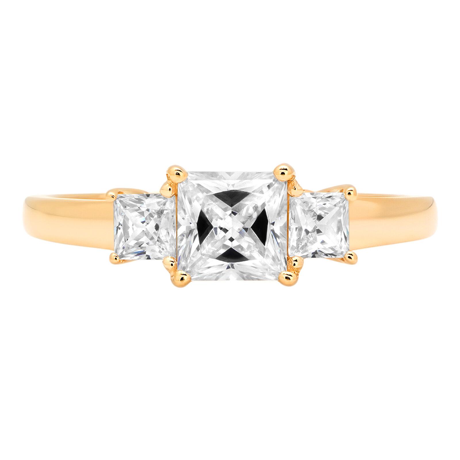 0.95 ct Three Stone Princess Cut Classic Engagement Bridal Ring 14k Yellow gold