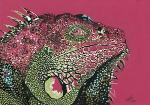 Iguana-Stylization-original-animal-drawing-pen-markers-painting-lizard-reptile