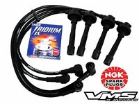 10.2mm Spark Plug Wires & Ngk Iridium Plugs For Fits Nissan Primera Sr20de Black