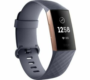 FITBIT Charge 3 - Blue Grey & Rose Gold, Universal - Currys