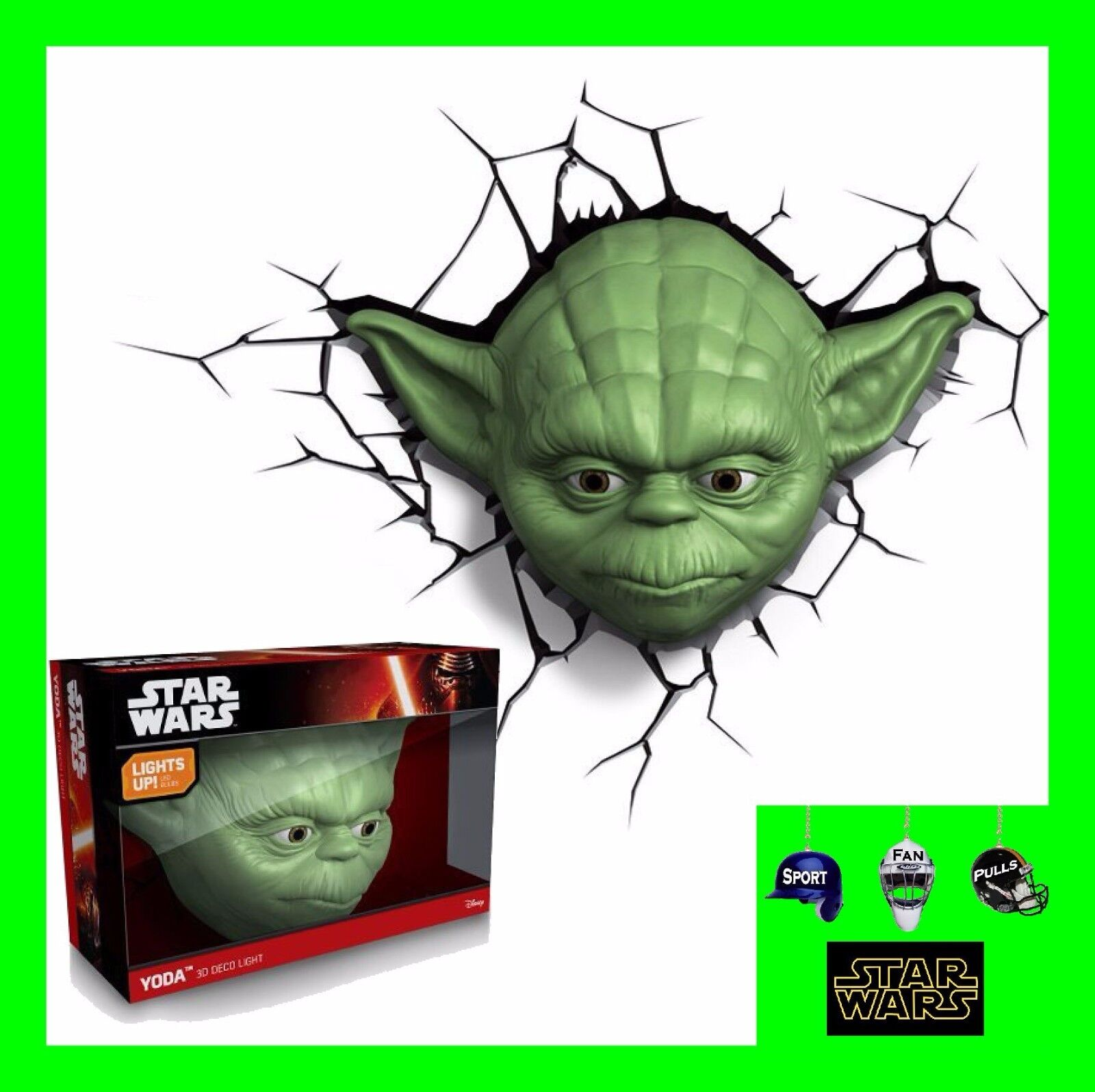 3D FX LED WALL DECO LIGHT - STAR WARS YODA FACE AND OR HAND WITH LIGHTSABER