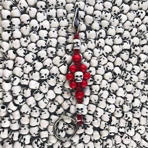 HOTI Hemp Handmade Red Skulls Flower Power Wood Beaded Keychain ... d91ea450f9