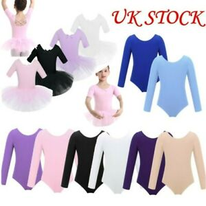 UK Kids Girls Gymnastic Leotard Dress Child Ballet Dance Skirt Dancewear Costume