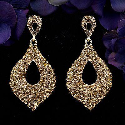 18K Gold Plated GP Golden Crystal Rhinestone Drop Chandelier Dangle Earrings 015