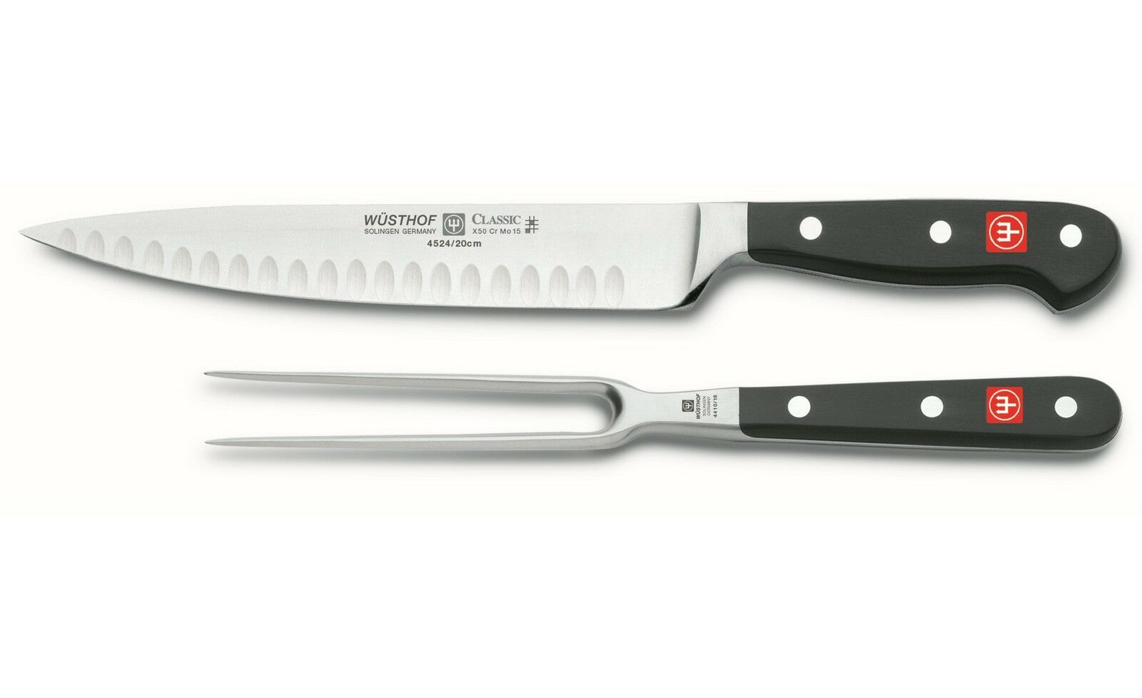 Wusthof Classic 8  Hollow Edge Carving Knife & 6  Fork Set