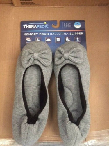Size Medium 7-8 Women/'s Therapedic Slip On Knit Ballet Slippers Gray NEW