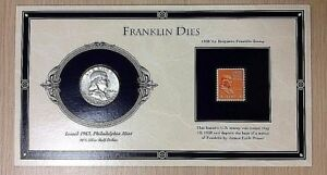 "* 1963 Franklin Silver Half Dollar & 1938 1/2 Cent Stamp ""Franklin Dies"""