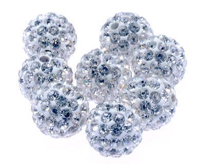 20x SHAMBALLA Perlen Beads 10mm KRISTALL KUGEL Handwerk Armband Strassperlen