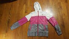 The North Face Nylon Hooded Windbreaker Jacket Women's MEDIUM pink gray white