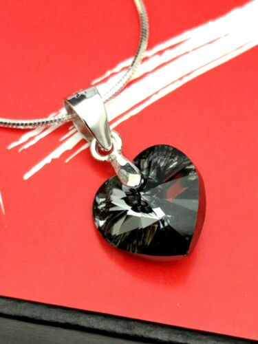 925 Silver Swarovski Element Black Crystal Heart Anniversary Gift Necklace 20