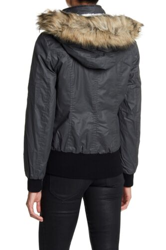 Hooded Shearling Grå M Medium Trim Waxy Bomber Fur New Faux Sebby Auth XHUAn