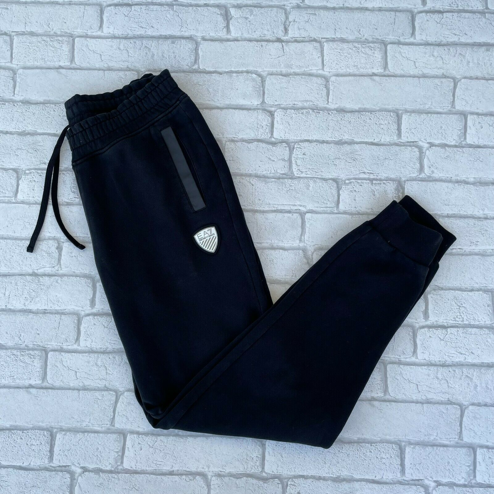 Armani Mens Sports Sweat Pants - Small S - Black - Tracksuit Bottoms Joggers