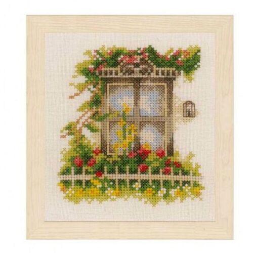 """Lanarte cruz pinchazo Stick envase /""""ventana con flores recuadro/"""" 11x12 cm pn-0162523"""