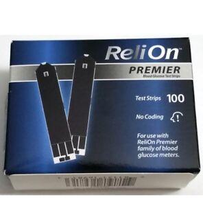 Best Blood Glucose Meter 2020 ReliOn Premier Blood Glucose Test Strips 100 Strips Exp 4 8 2020