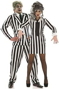 paar damen und herren beetlejuice halloween kost m kost me outfits ebay. Black Bedroom Furniture Sets. Home Design Ideas