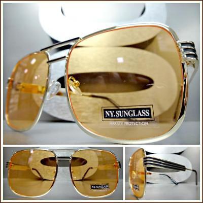 OVERSIZED Upscale LUXURY RETRO Style SUNGLASSES Square Gold Frame Orange Lens