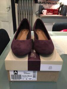 Suede 4 Wedge Vgc Zapatos Color Aubergine para Clarks Tamaño mujer Heels pxxfCXO