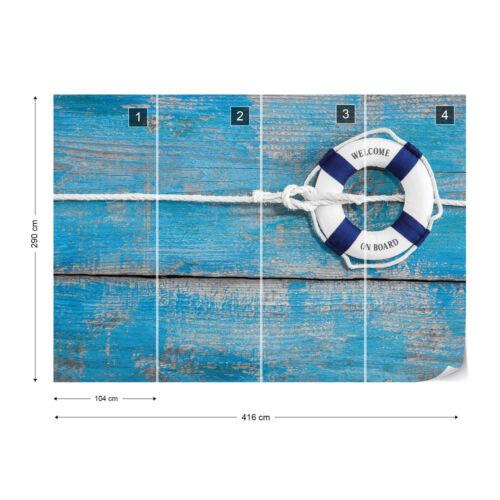 Tapete Fototapete Holzoptik Bretter Meer Maritim Rettungsring Welcome on Board