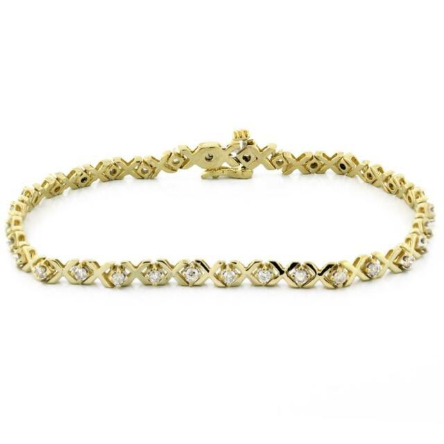 Estate X-Link Diamond Tennis Bracelet 14k Yellow Gold 1.50 CTW Diamonds 7.5