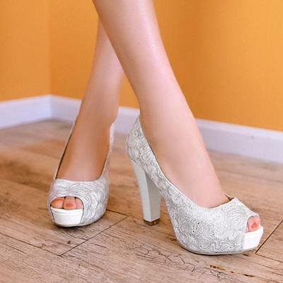 Womens lady Wedding bride party block heels open toe Sequins party shoes Pumps