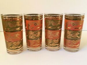 Set-of-4-Royal-Hickman-Mid-Century-Fox-Hunt-Green-Orange-Gold-Tumbler-Glass