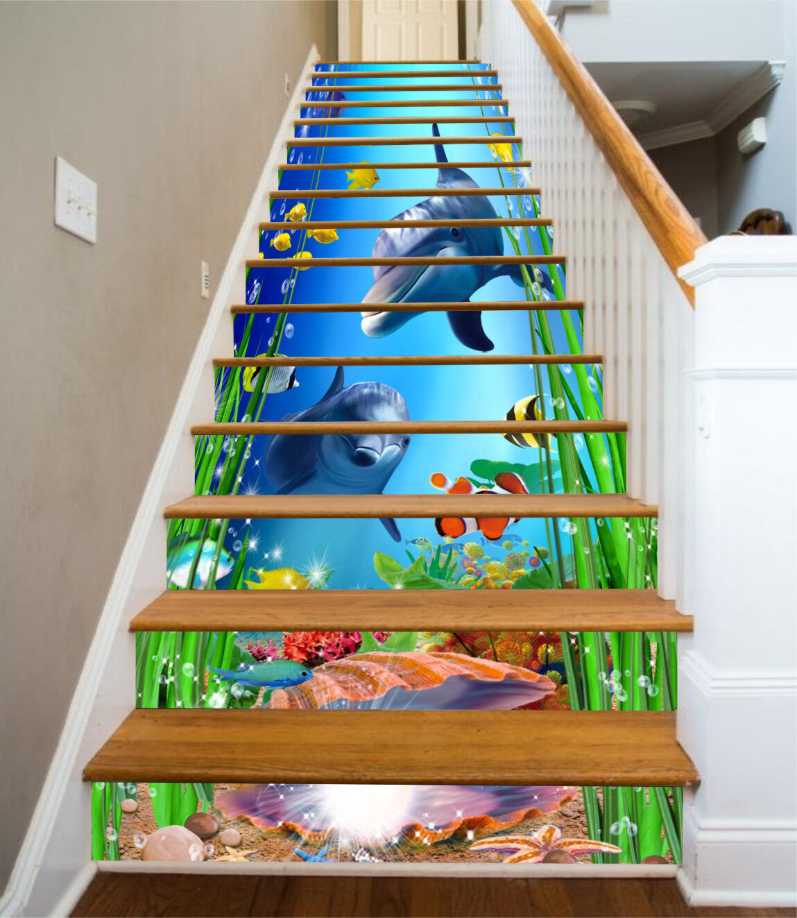 3D Marine Dolphin43 Stair Risers Decoration Photo Mural Vinyl Decal Wallpaper UK
