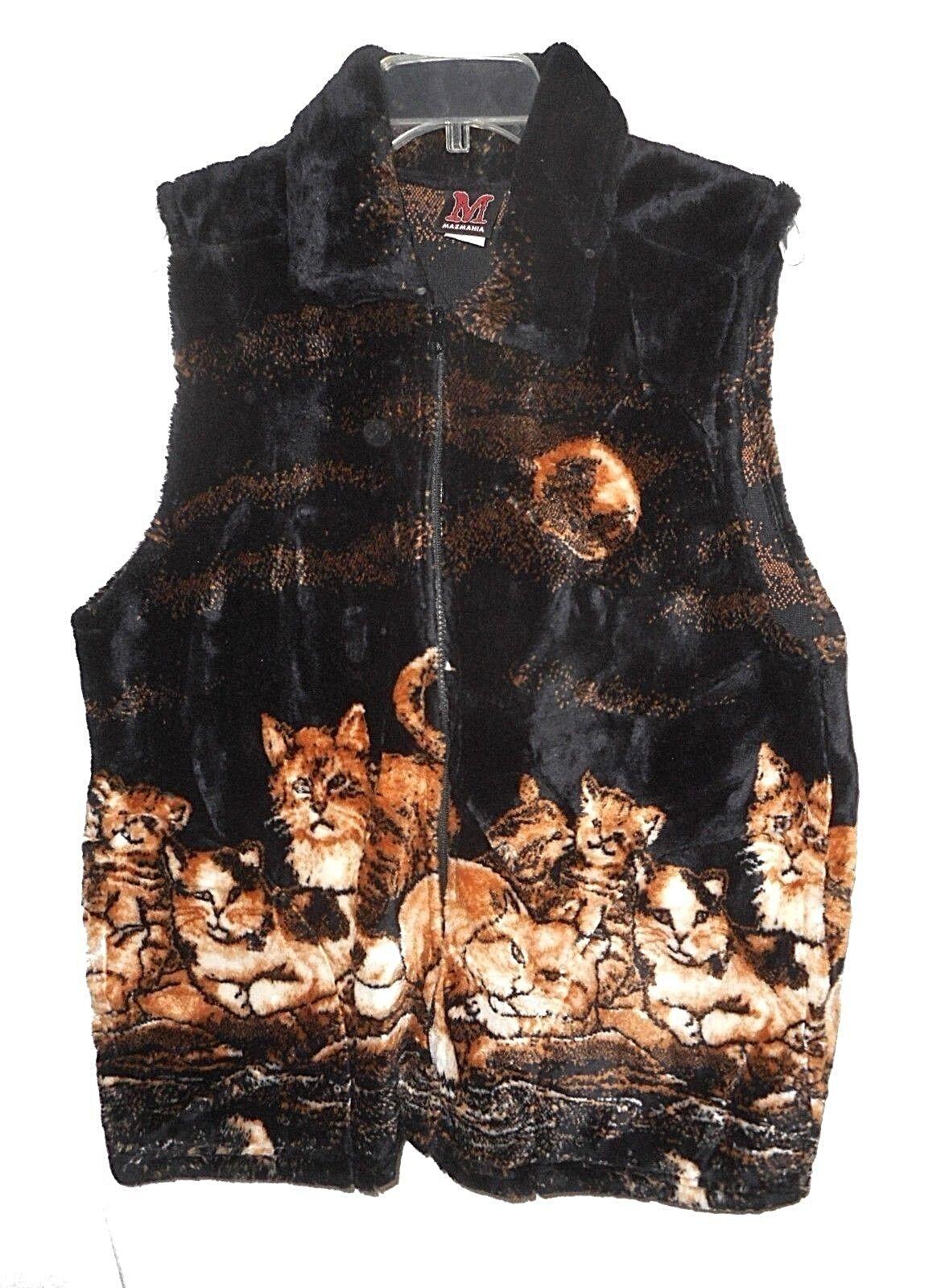 New Vest, Mazmania, Kittens Cats Calico Moon Plush Fleece Warm Zippered  L