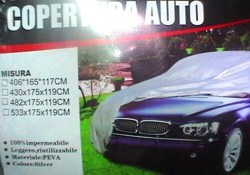 TELO COPRIAUTO IMPERMEABILIZZATO Copri Auto POLIETILENO in PeVa PVC in Valigetta