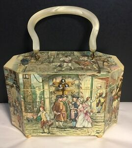 Details about Vintage Decoupage 3D Relief Wood Box Hand Bag/Purse,Bakelite  handle, Colonial