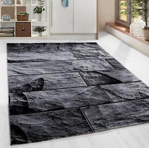Moderner-Design-Stein-Mauer-Teppich-Kurzflor-Wohnzimmer-Schwarz-Grau-meliert