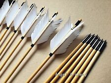 12PK handmade White cedar wooden arrow four feathers for hunting bows longbow