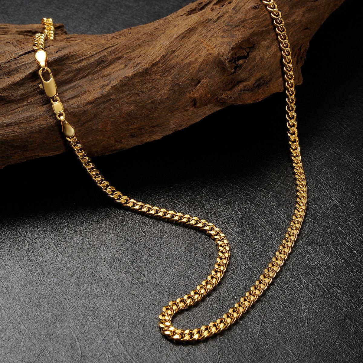 b6cc308652 Herren 24k gold Halskette 3.5mm Panzerkette Echte 999er Gold vergoldet 60cm
