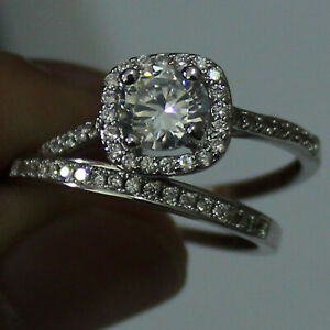 1.20 Ct Round Real Moissanite Band Set 14K Solid White Gold Wedding Ring Size 9