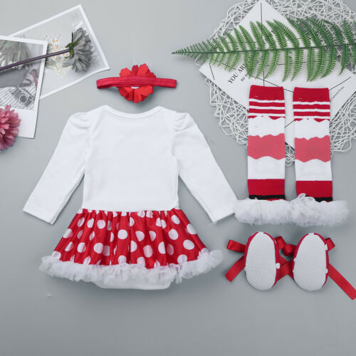 Newborn Infant Baby Girls Merry Christmas Dress Xmas Party Tutu Romper Clothes