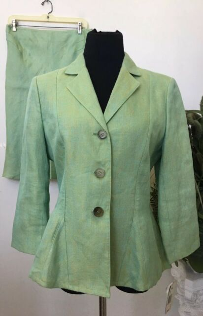 Anne Klein Women S Green Linen Blend 2 Piece Skirt Suit Sz 10 Ebay