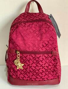 NEW-TOMMY-HILFIGER-RED-TRAVEL-BACKPACK-BAG-PURSE-89-SALE