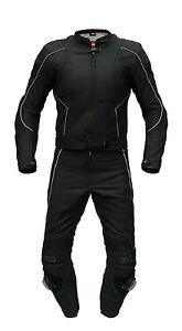 Neue-hochwertige-Lederkombi-Kurzgroesse-zweiteilig-schwarz-Leather-Suit