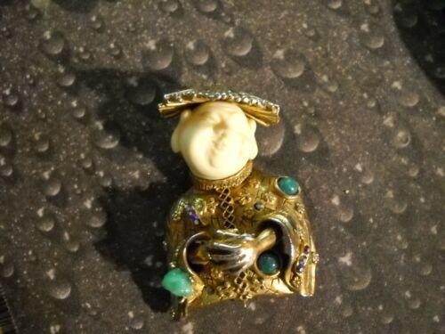 ~Vintage Har Asian Coolie Man Goldtone Bejeweled P