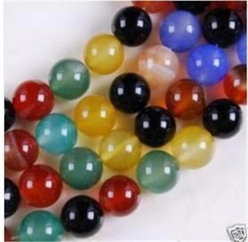 "8 Mm Multicolore Agate Onyx Gemstone Round Loose Bead 15/"" # QF321"