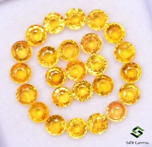 9-28-CTS-Natural-Yellow-Sapphire-Round-Cut-4-mm-Lot-25-Pcs-Calibrated-Loose-Gems