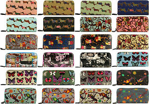 Ladies-Women-Large-Oil-Cloth-Terron-Cotton-Multi-Variations-large-Wallet-Purse