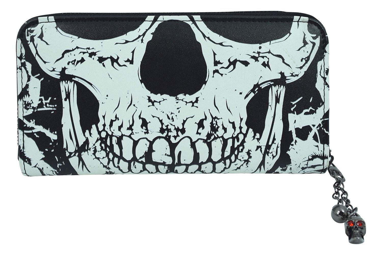 Lost Queen Gothic Death Skull Face Glow in the Dark Zip Around Wallet